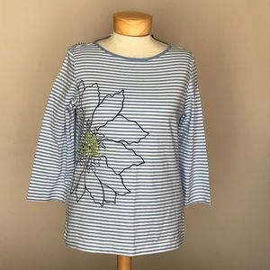 NWT Requirements striped flower top. Size Small